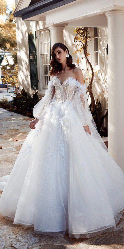trendy wedding dresses ball gown sweetheart neckline with puff sleeves floral 2020 leah da gloria