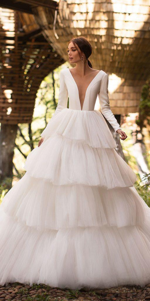 trendy wedding dresses ball gown with long sleeves deep v neckline milla nova