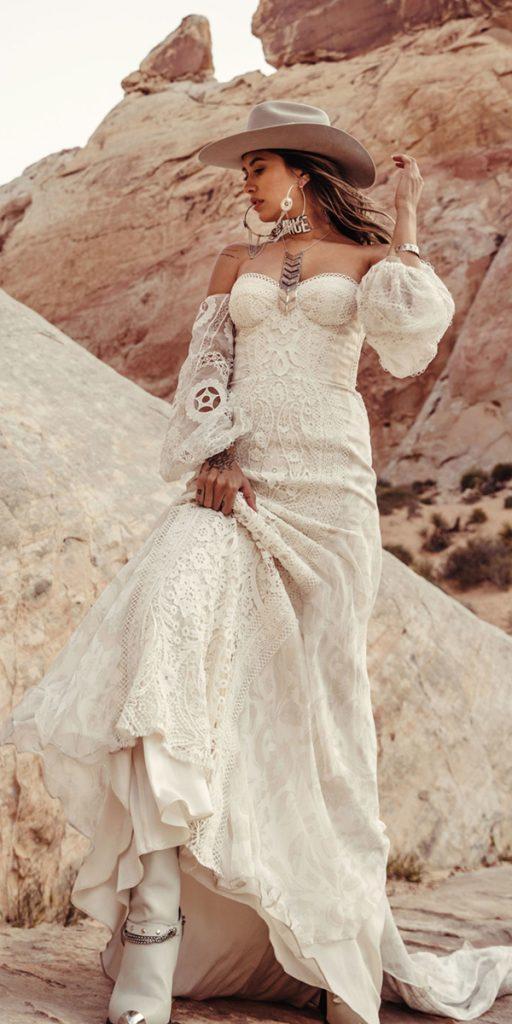 trendy wedding dresses bohemian sweetheart neckline off the shoulder rue de seine
