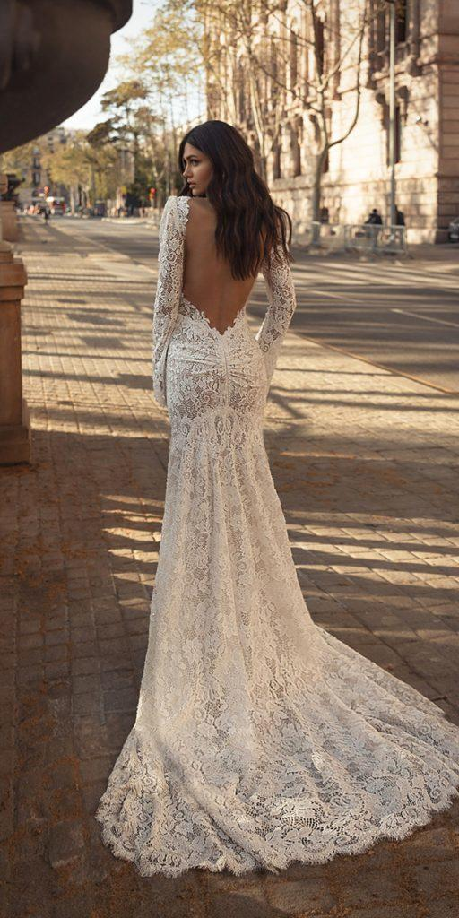 trendy wedding dresse fit and flare with long sleeves low back lace julie vino