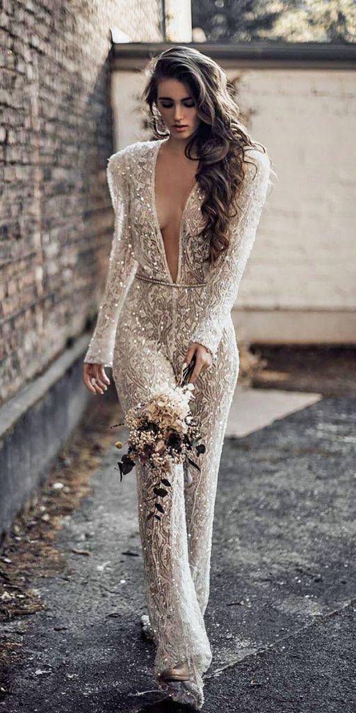 trendy wedding dresses jumpsuits deep v neckline with long sleeves sequins galialahav