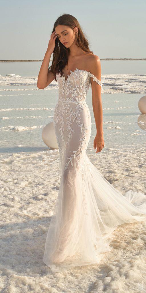 trendy wedding dresses mermaid off the shoulder sweetheart neckline beach-