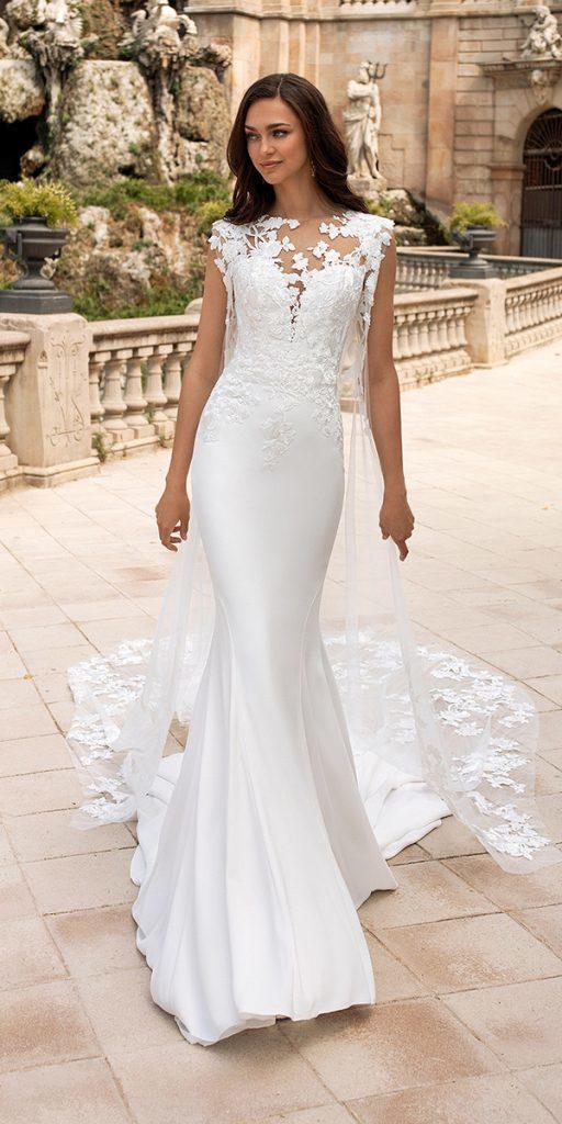 trendy wedding dresses mermaid with cape 2020 pronovias