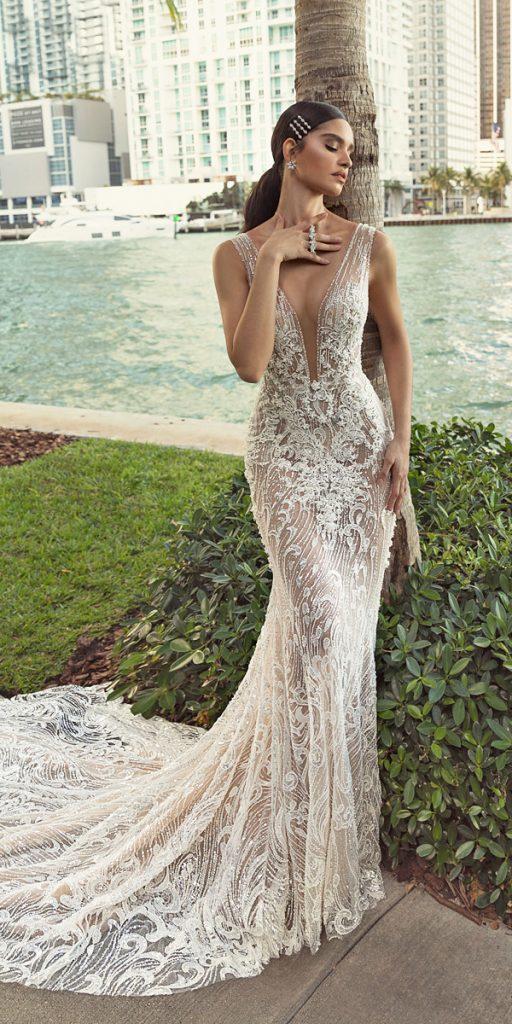 trendy wedding dresses sheath deep v neckline lace sexy beach train crystal design