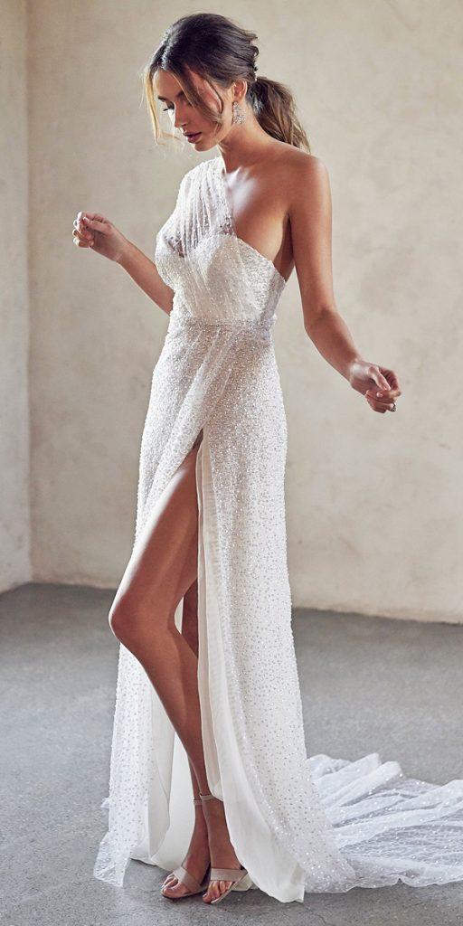 trendy wedding dresses sheath one shoulder sequins vintage anna campbell