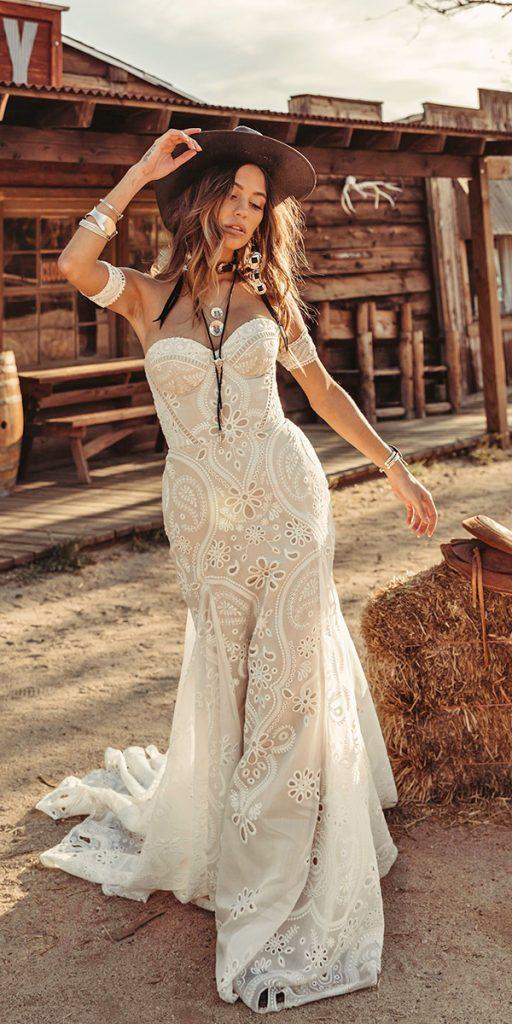 trendy wedding dresses sheath sweetheart strapless neckline bohemian rue de seine