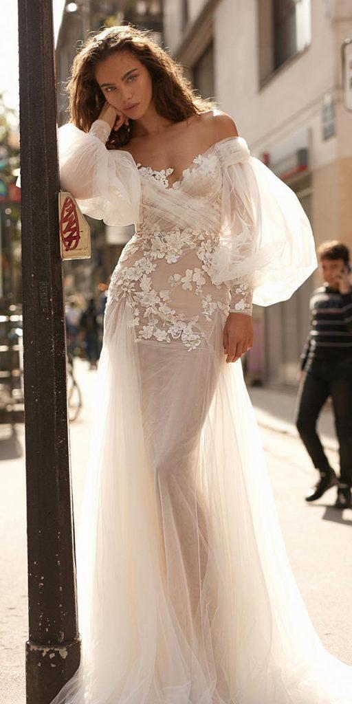 trendy wedding dresses sheath with long puff sleeves for beach liz martinez