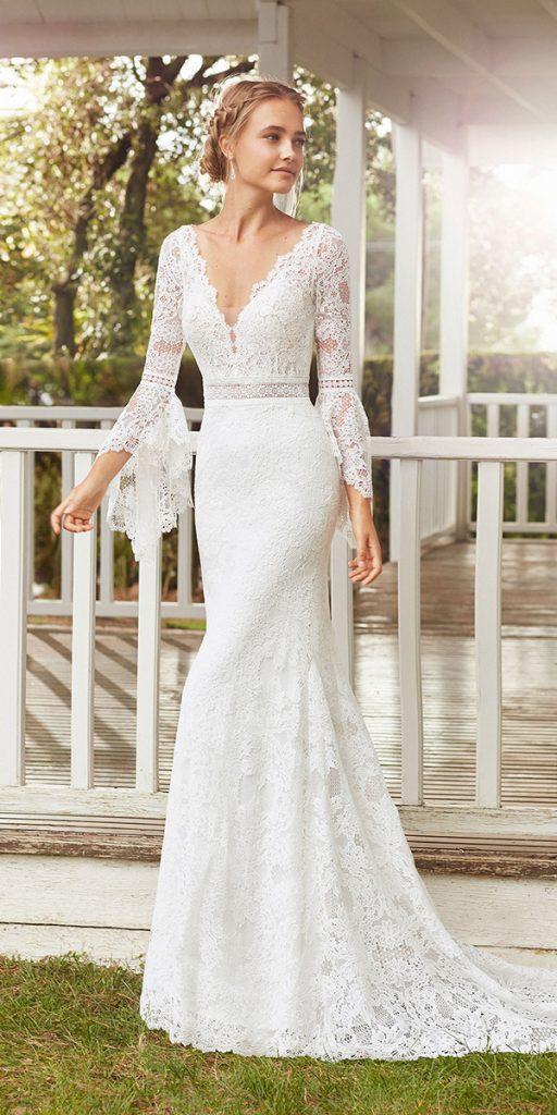 trendy wedding dresses sheath with long sleeves full lace bohemian rosa clara