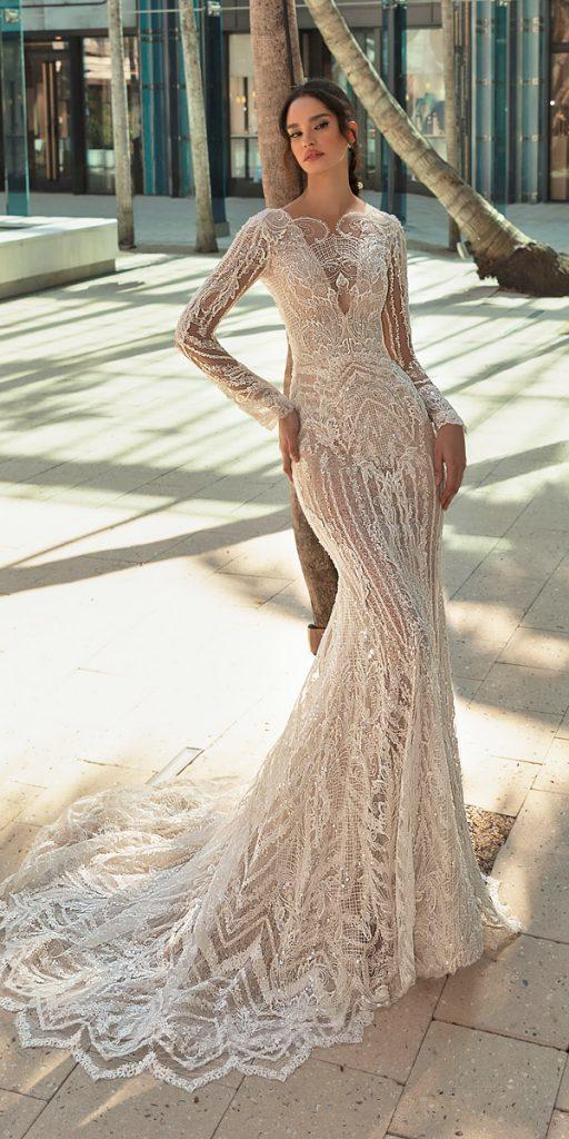 trendy wedding dresses sheath with long sleeves lace vintage crystal desing