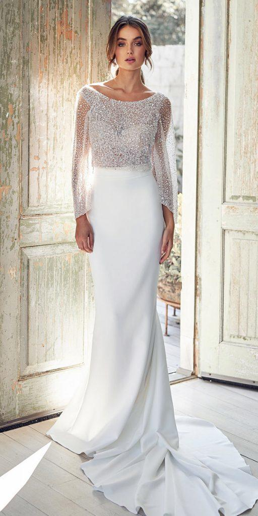 trendy wedding dresses sheath with sequins cape train vintage anna campbell
