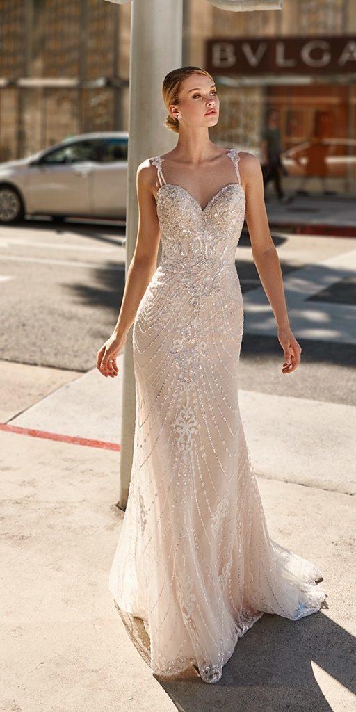 trendy wedding dresses sheath with spaghetti straps vintage sweetheart neckline val stefani