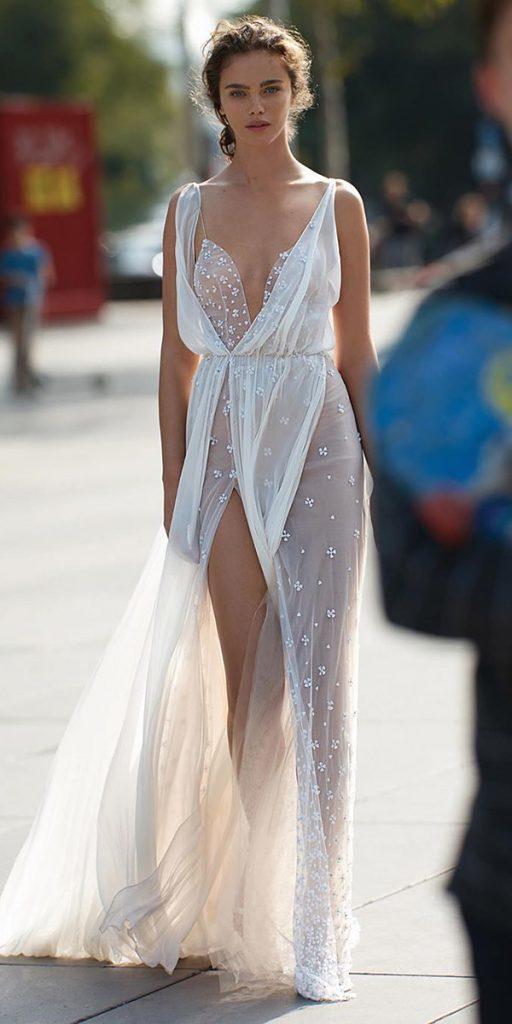 trendy wedding dresses sheath with straps beach liz martinez