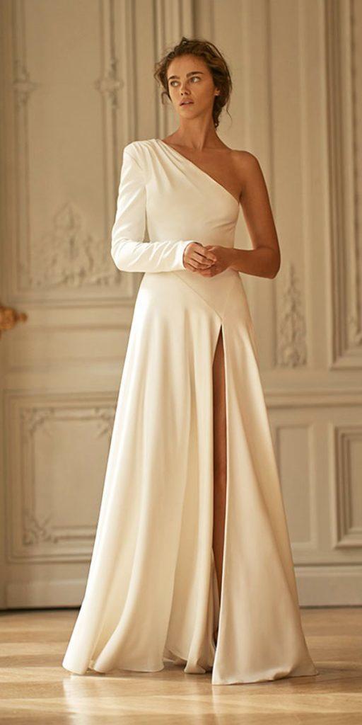 trendy wedding dresses simple one shoulder assymetric neckline liz martinez