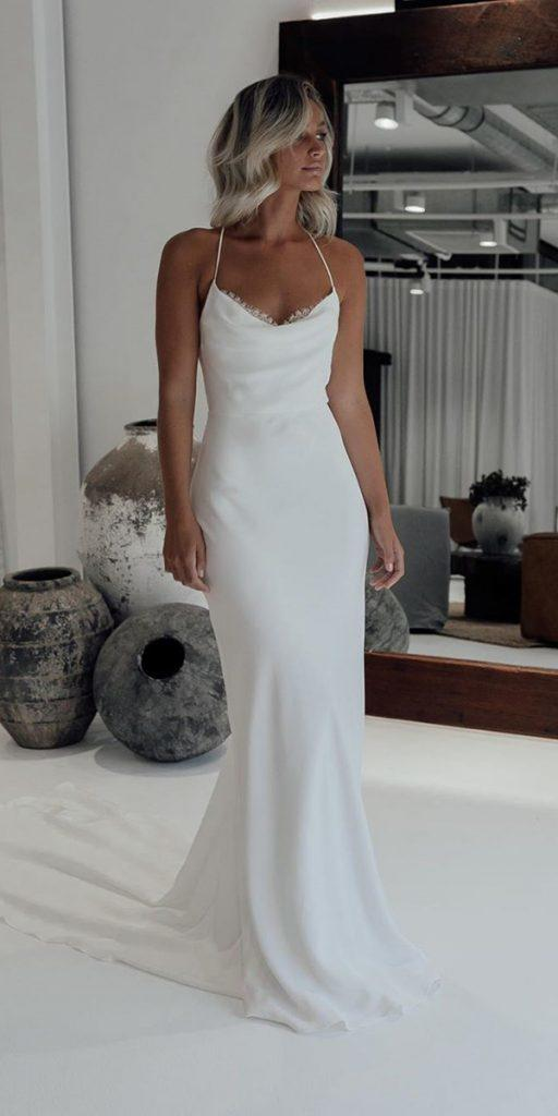 trendy wedding dresses simple silk with spaghetti straps beach grace loves lace