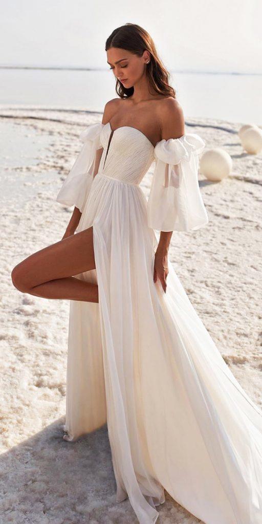 trendy wedding dresses simple sweetheart strapless neckline with puff sleeves 2020 lee grebenau