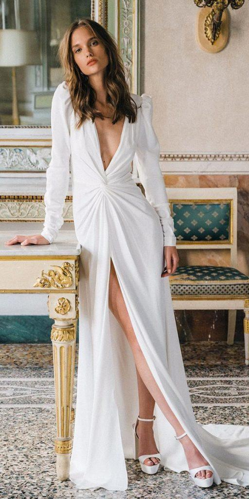 trendy wedding dresses simple with long sleeves deep v neckline 2020 monique lhuillier