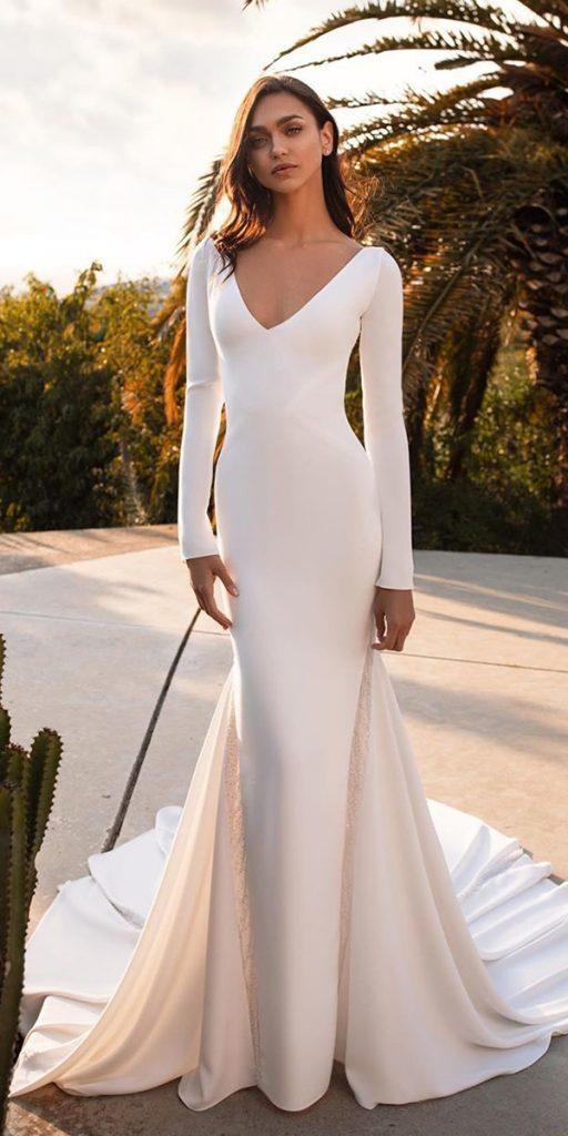 trendy wedding dresses simple with long sleeves v neckline train pronovias