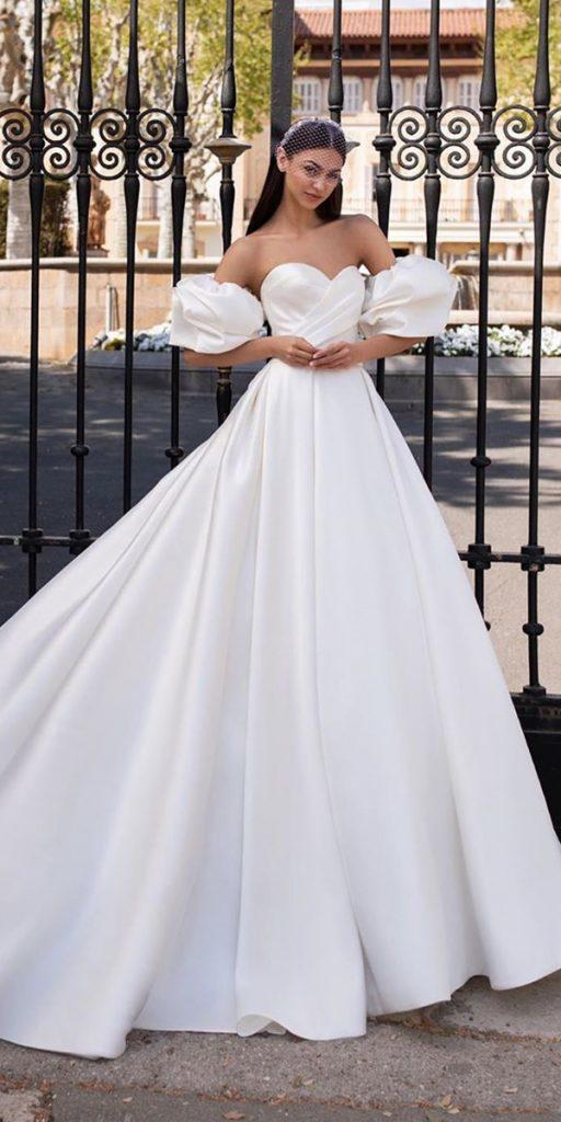 trendy wedding dresses simple with puff sleeves strapless neckline pronovias