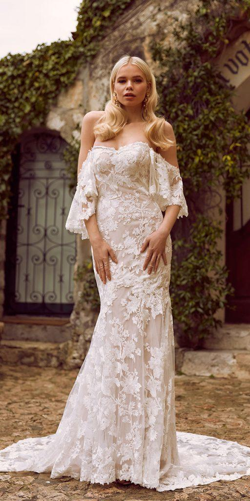 trendy wedding dresses trumpet sweetheart strapless neckline lace off the shoulder madi lane