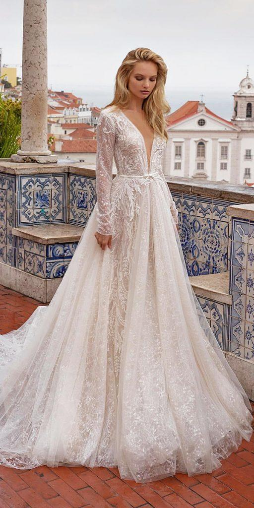 trendy wedding dresses with long sleeves plungin neckline lace evalendel