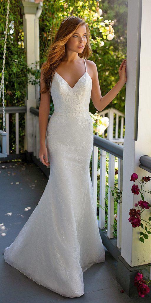 trendy wedding dresses with spaghetti straps mermaid beach val stefani