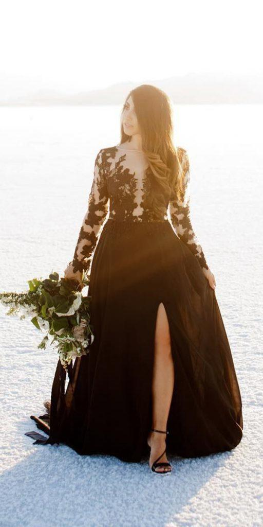 black wedding dresses ball gown illusion neckline with long sleeves lace ivyweddings