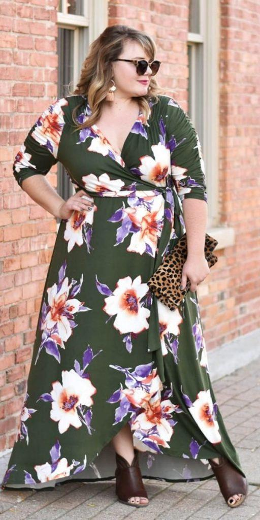 plus size wedding guest dresses long with sleeves floral print fot fall kiyonnacurves