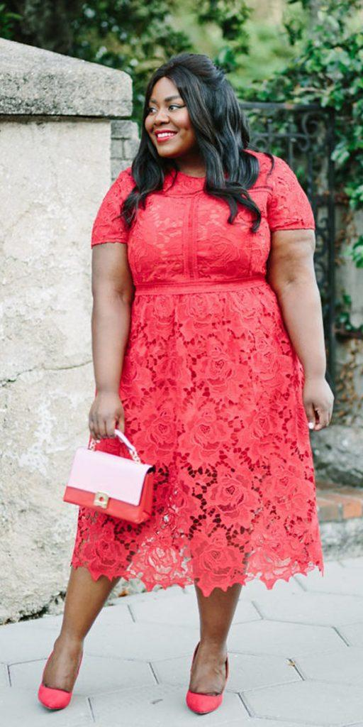 plus size wedding guest dresses red tea length with cap sleeves lace carissa fassnacht