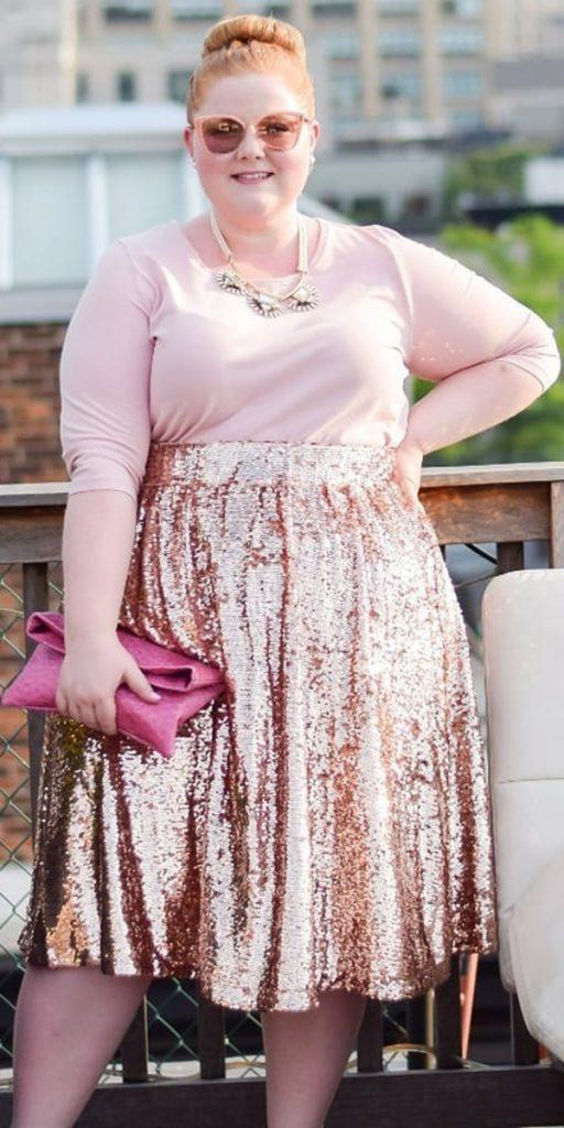 plus size wedding guest dresses with long sleeves sequins pink for fall winter withwonderandwhimsy