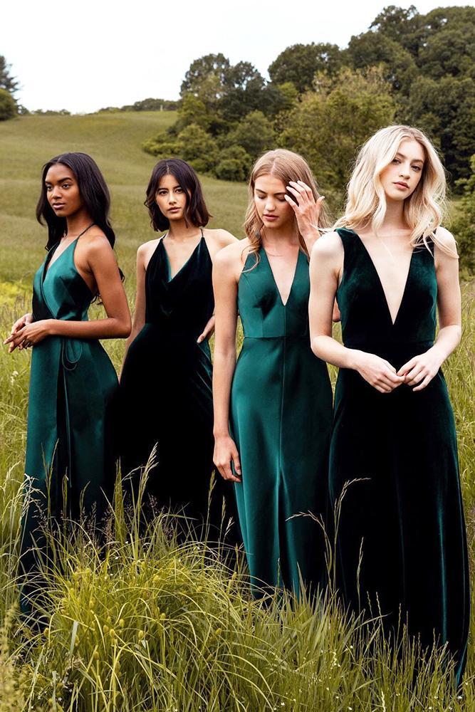 rustic bridesmaid dresses long dark green plunging neckline country jenny yoo