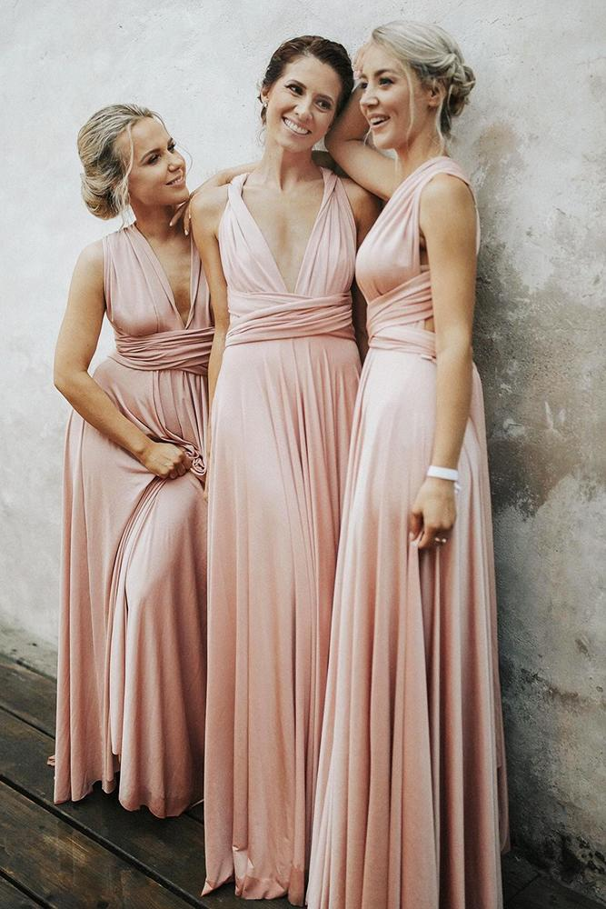 rustic bridesmaid dresses long deep v neckline blush twobirdsnewyork