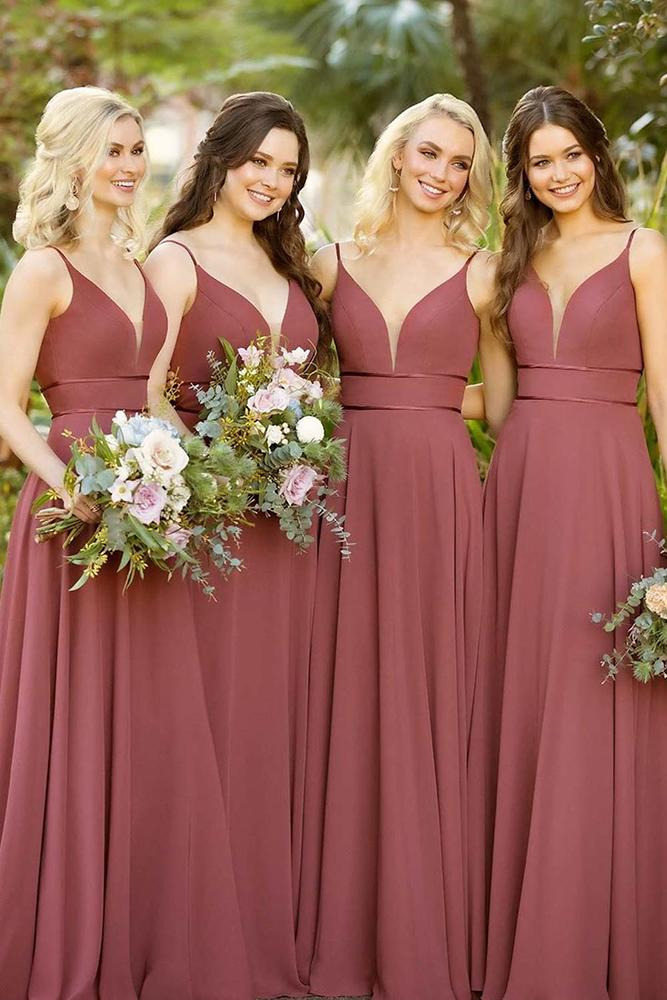 rustic bridesmaid dresses long with spaghetti straps burgundy for summer essenseofaustralia