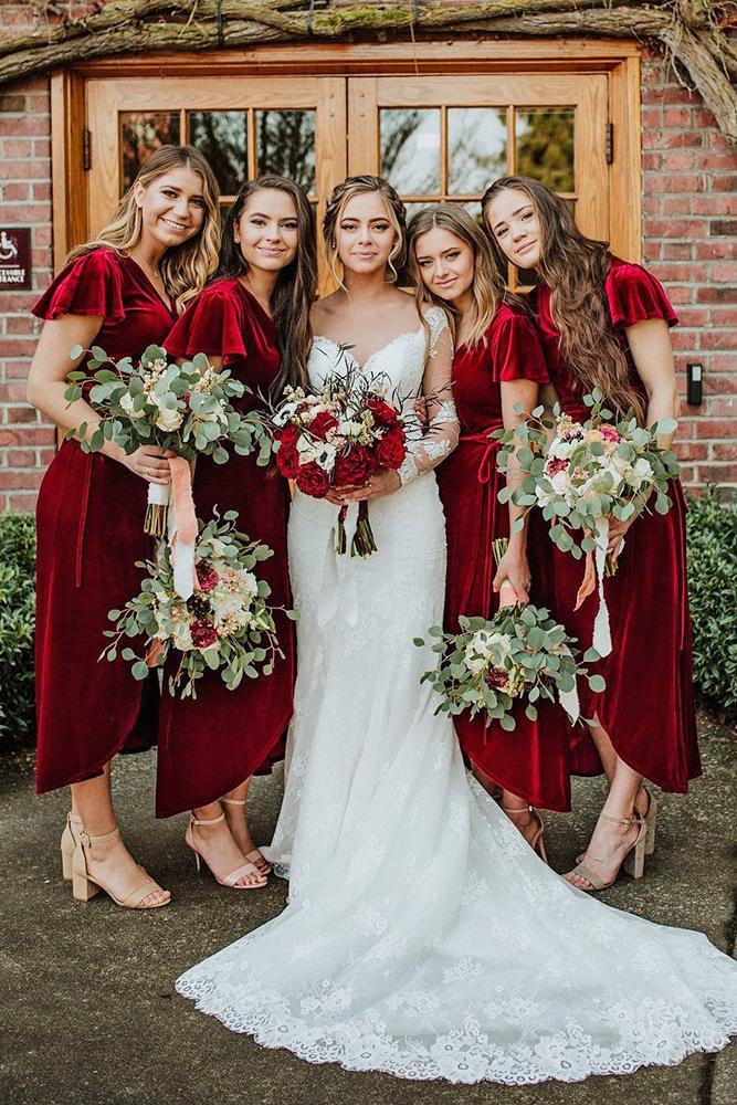 rustic bridesmaid dresses tea length country velure marinadekhtyar