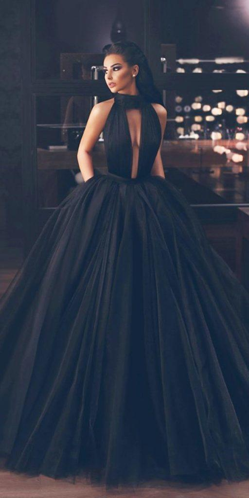 black wedding dresses ball gown deep v neckline halter simple said mhad