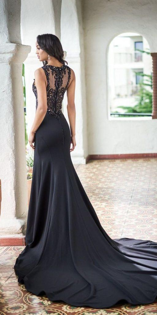 black wedding dresses fit and flare illusion back vintage lace train jasmine