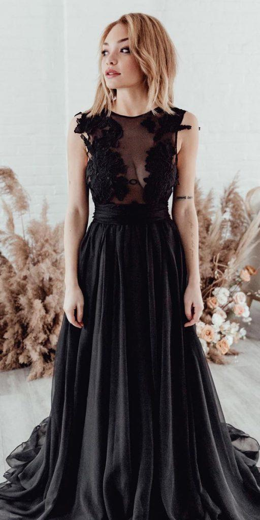 black wedding dresses a line lace top romantic sweetcarolinestyles