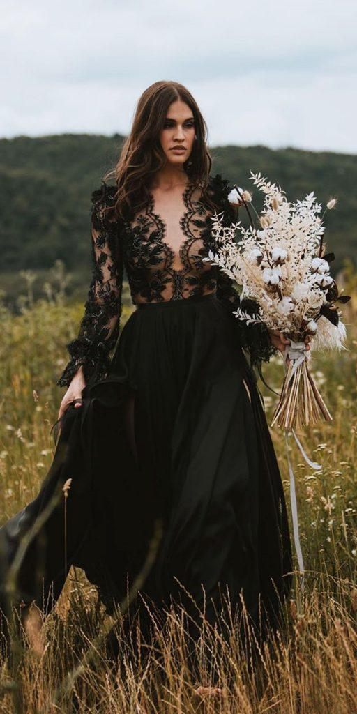 black wedding dresses a line lace top with long sleeves country daalarnacouture