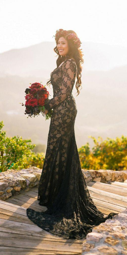 black wedding dresses sheath with long sleeves full lace jojo bride