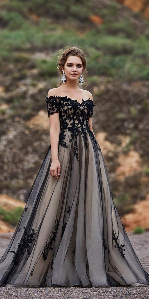 black wedding dresses a line off the shoulder lace balladhallphotography
