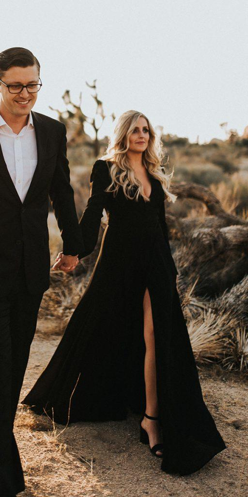 black wedding dresses a line with long sleeves simple jonnieandgarrett