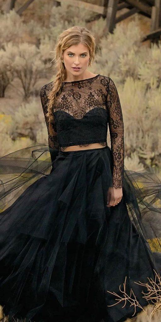 black wedding dresses lace top with long sleeves ruffled skirt elizabeth dye