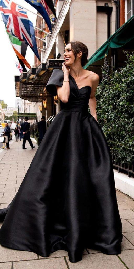 black wedding dresses princess sweeetheart neckline simple pronovias