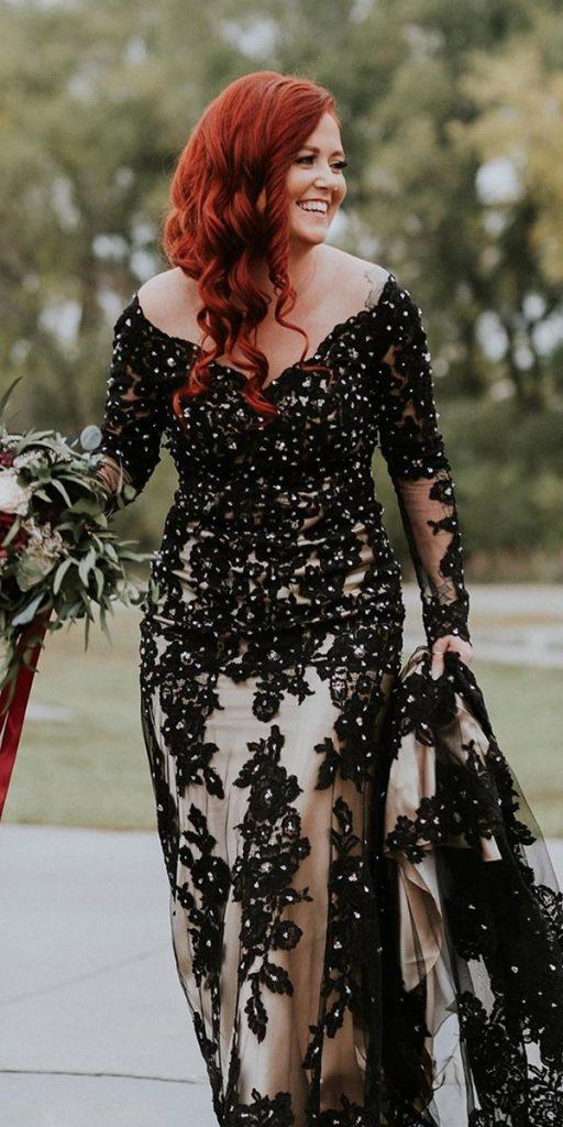 black wedding dresses sheath with long sleeves lace with white cocomelody