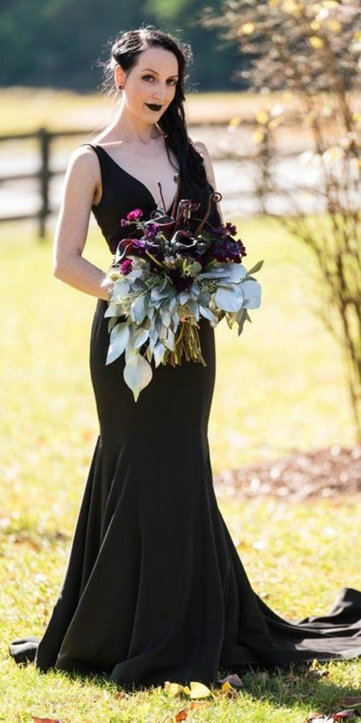 black wedding dresses simple trumpet v neckline photography by zelda