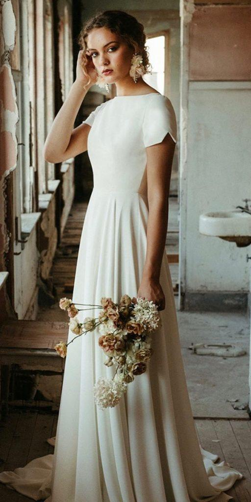 27 Of The Most Graceful Simple Wedding Dresses With Sleeves Wedding Dresses Guide